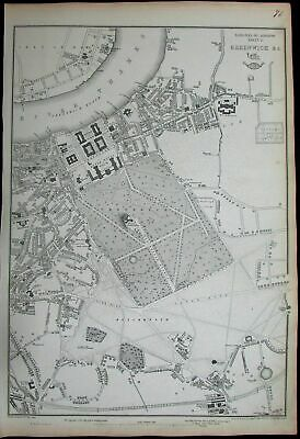 London Thames Greenwich Hospital Royal Observatory c.1860 Weller antique map