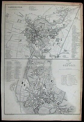 Oxford Cambridge England university colleges c.1860 Weller city plans map