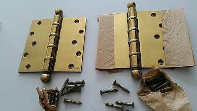 Big Heavy Pair Of Vintage  6 X6 Inch Brass Plated Ball Bearing Hinges Never Used