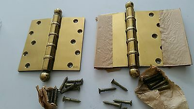 Big Heavy Pair Of Vintage  6 X6  Brass Plated Ball Bearing Hinges Never Used (B)