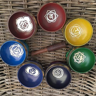 Chakra Tibetan Singing Bowls Set Ideal Gift Meditation Yoga Healing Music Reiki