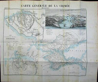 Crimee Crimean Peninsula Sevastopol Black Sea Russia 1858 antique Blouzet map