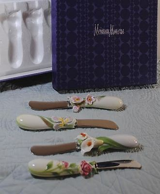 Franz Porcelain for Neiman Marcus Floral Cheese Spreaders Serving Butter Knives