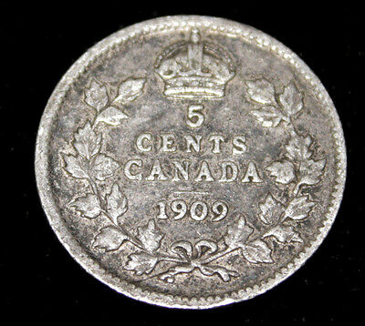 Canada 1909 Silver 5 Cents coin  Key Date