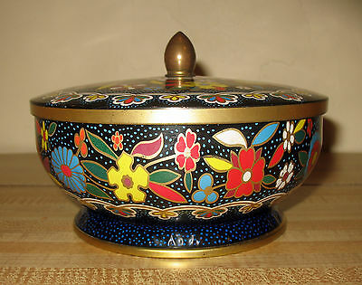 Vintage Daher Decorative Footed Floral Tin with Lid Made in England