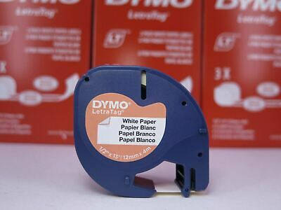 Genuine Dymo Letratag Tape Paper on White Label 12mm x 4m 92630 Value Pks 1-20