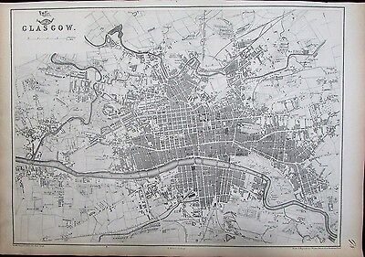 Glasgow Scotland Clyde River by Weller c.1860 large very detailed antique map