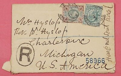 1904 Gb Registered Cover Wells Somerset Cancel To Usa
