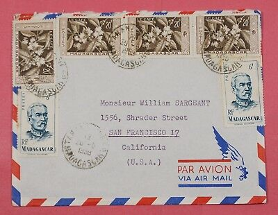 1959 Madagascar Multi Franked Airmail Cover Tananarive To Usa