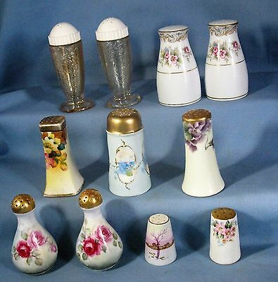 ANTIQUE/VINTAGE LOT of 11 HP PORCELAIN & GLASS S&P SHAKERS 3-PAIR 5-SINGLES