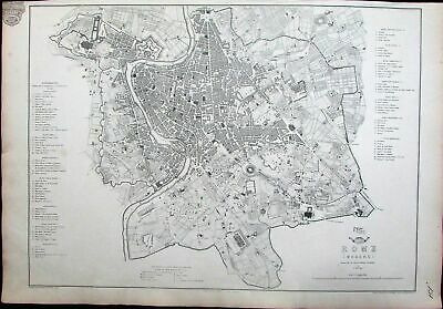 Rome Roma Italy Italia Coliseum wonderful city plan c.1860 Weller antique map