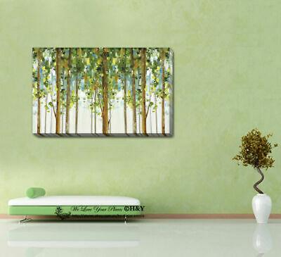 Green Forest Strectched Canvas Prints Framed Wall Art Home Office Decor Painting