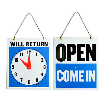 OPEN CLOSED Sign / WILL RETURN + CLOCK : Business Hours —Hanging 2-Sided 8.7x7½""