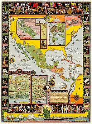 Spanish Main 1933 pictorial map whimsical POSTER Jo Mora 41898
