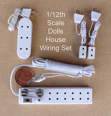 1:12 Scale Light Wiring Kit 6 Socket, 2 Single & 1 Triple Strips Dolls House 12v