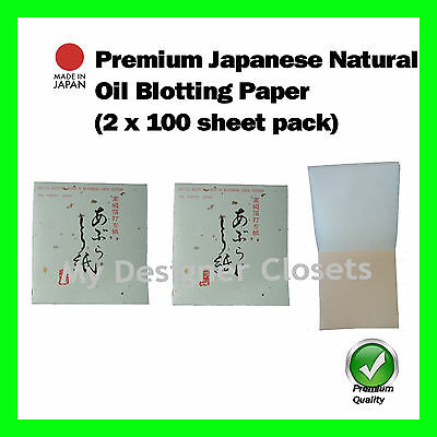 Premium Japanese Natural Oil Blotting Control Paper Check 2x100s (Made in Japan)