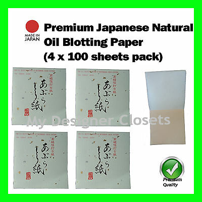 Premium Japanese Natural Oil Blotting Control Paper Check 4x100s (Made in Japan)