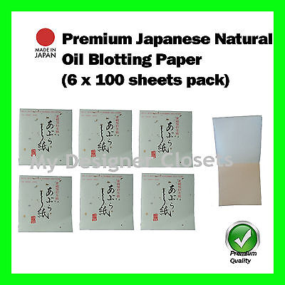 Premium Japanese Natural Oil Blotting Control Paper Check 6x100s (Made in Japan)