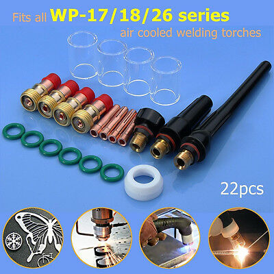 22 pcs TIG Welding Stubby Gas Lens #10 Pyrex Cup Kit for Tig WP-17/18/26 Torch