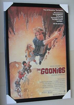 """THE GOONIES framed POSTER """"Ready to Hang"""" BLACK WOODEN FRAME WITH GLASS"""