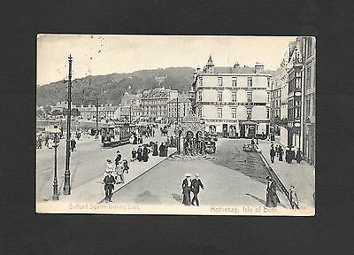 Genuine Photographic Postcard Trams Guilford Square Isle of Bute  Dated 1906