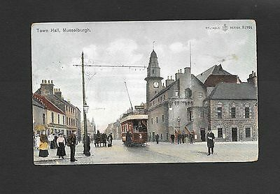 Photographic Tinted Postcard High St  Musselburgh  Dated 1906 Tram People
