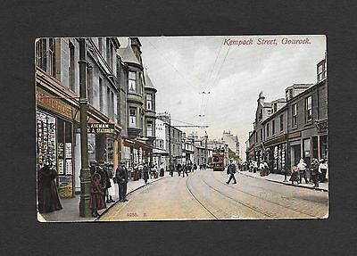 Photographic Tinted Postcard Kempock Street Gourock Tram People dated 1908