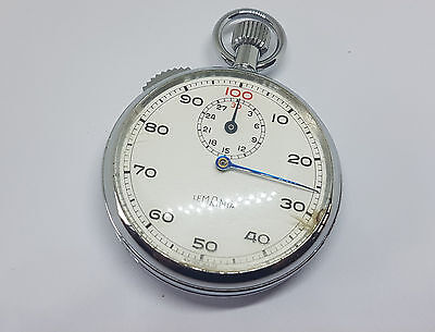 Vintage Used Lemania Stop Watch White Dial Sub Second