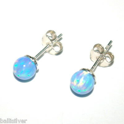 6mm Light Blue OPAL 925 Sterling Silver Stud Earrings - Genuine Silver
