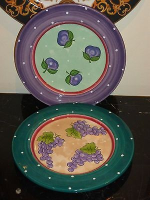 """2 Essex Collection Fruit Punch GRAPES AND PLUMS Dessert Pie Plates 8 1/4"""""""