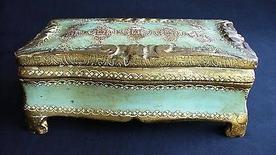 Vtg~ITALY~Gold Gilt~TEAL~GREEN~Painted~WOOD~Footed~TOLEWARE~Jewelry~VANITY Box