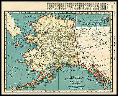 ALASKA Anchorage Klondike U.S. State 1941 antique color lithograph Map