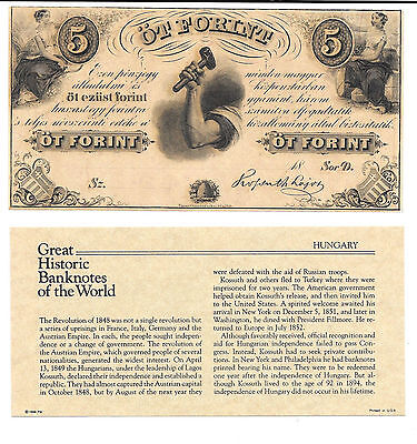 Great Historic Banknotes HUNGARY 1800's 5 Forint New York Note Remainder
