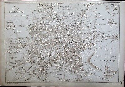 Edinburgh Scotland city plan c.1860 Weller map stunning details large scarce