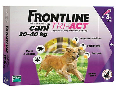 Frontline Tri Act Cane 20-40 Kg Spot On 3 Pipette Scadenza 01/2019