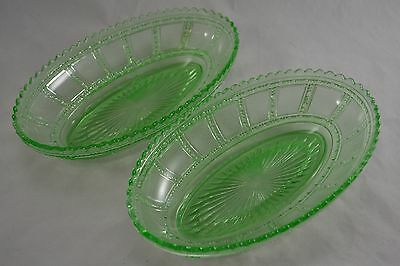 VINTAGE pair of green pressed glass oval serving dishes bon bon