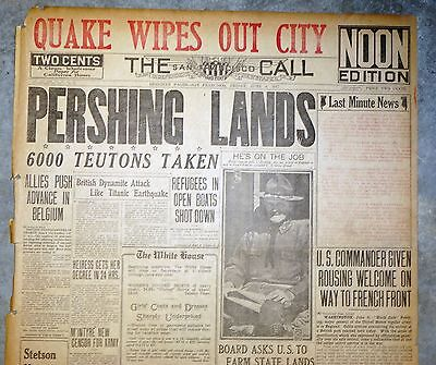 WWI 1917 Newspaper Front Page w Large Bold Headlines - Pershing Lands in France