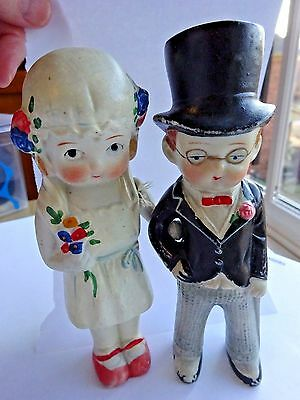 """Antique Bisque Bride and Groom Arm Arm Painted Cake top 6"""" Adorable"""
