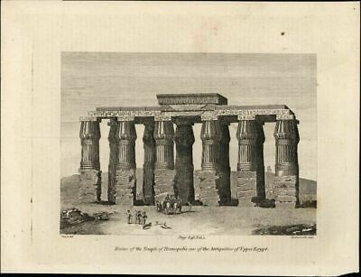 Ruins Temple of Hermopolis Rome Roman Upper Egypt c.1807 antique engraved view