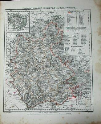 Nassau Hessen Hamburg Frankfurt Rhine River c.1849 antique detailed German map