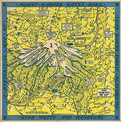 Mount Rainier National Park Hysterical 1948 Pictorial Map comic POSTER 12319