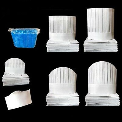 Professional Disposable White Paper BBQ Kitchen Cooking Cap Chef Hat Popular New