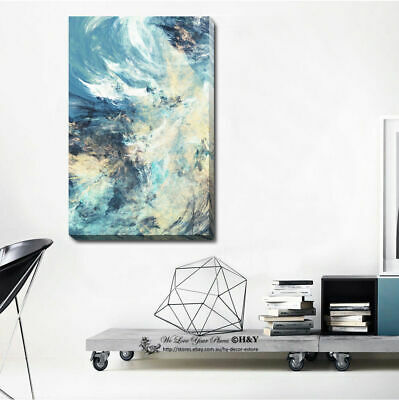 Abstract Stretched Canvas Print Framed Wall Art Home Office Decor Painting Blue