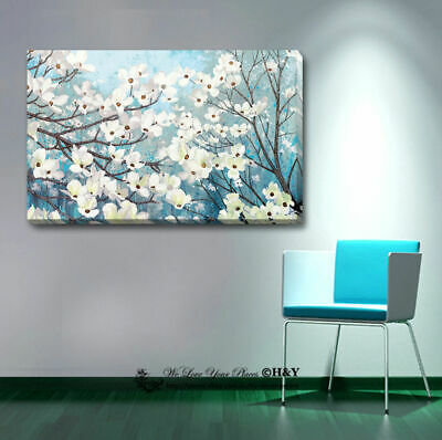 Blossom Stretched Canvas Print Framed Wall Art Home Office Decor Gift Blue White