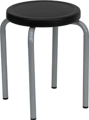 Flash Furniture YK01B-GG Stackable Stool with Black Seat and Silver Powder Coate