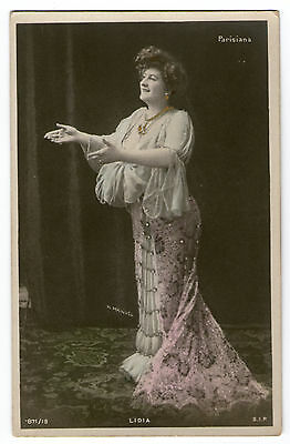 Cpa E88 Lidia Artiste Theatre Parisiana Charme Spectacle Robe Torsade Broderie