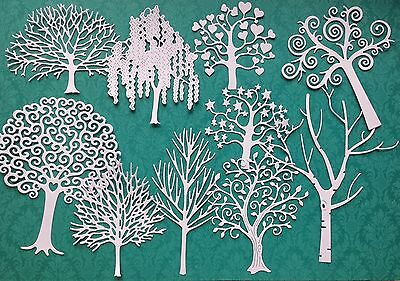 Pack Of Mixed Tree Die-Cuts (White) - 10 Designs Included.