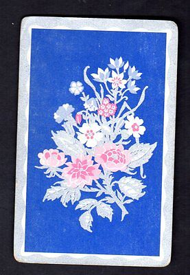 Vintage Swap/Playing Card - Pretty Flowers - Silver Highlights