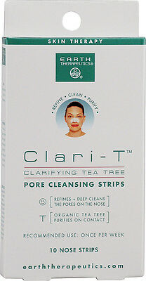 Clari-T Clarifying Tea Tree Pore Cleansing Strips, Earth Therapeutics, 10 piece