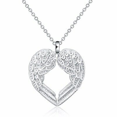 New 925 Sterling Silver Filled Angel Wing Charm Pendant Necklace Jewelry Gift